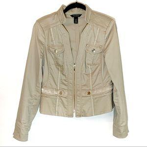 WHBM Khaki Zip Top: Size 10